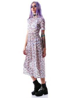 Nameless Laura Ashley Lace Up Maxi Dress