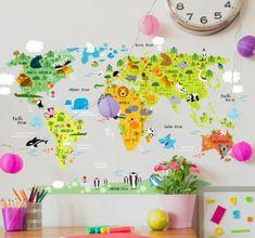 Wandsticker weltkarte kinder geographietierwelt spielerisch kids animal world map thecheapjerseys Gallery
