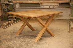 Stół z drewna litego dębowego nogi łączone w kształcie litery X