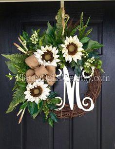Front Door Wreaths, Summer Door Wreaths, Fall Wreath for Door, Wreaths, Grapevine Wreath, Burlap Door Wreaths, Fall Wreaths, Burlap Wreath by FleursDeLaVie on Etsy https://www.etsy.com/listing/399983233/front-door-wreaths-summer-door-wreaths
