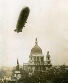 German zeppelin over London, 1930