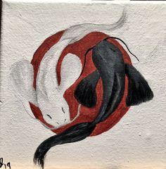 Beautiful yin and yang koi over a Japanese flag, original acrylic painting on canvas, x x Koi Fish Drawing, Fish Drawings, Halloween Canvas Paintings, Wall Paintings, Yin Yang Art, Yin Yang Fish, Balance Art, Parking Spot Painting, Japan Painting
