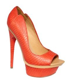 Dark coral/tangerine and nude are spring 2012's hottest colors. Pumps without straps give extra length to petite frames.