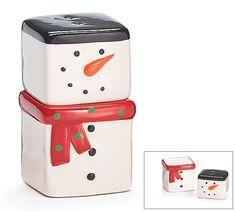 New 2 Piece Ceramic Cubes Snowman Salt & Pepper Shakers burton+BURTON #burtonBURTON