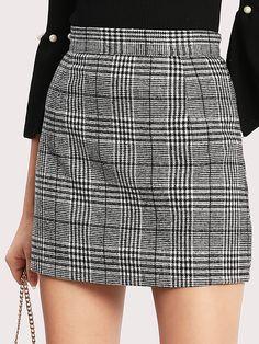Tartan Plaid Zipper Back Skirt -SheIn(Sheinside)
