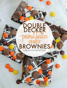 Double Decker Peanut Butter Cookie Brownies are the perfect dessert for a chocolate + peanut butter lover! Soft peanut butter cookie, triple chocolate brownies, white chocolate drizzle and tons of REESES Pieces and peanut butter cup minis!!