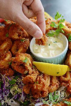 Squid Recipes, Fish Recipes, Seafood Recipes, Appetizer Recipes, Cooking Recipes, Healthy Recipes, Octopus Recipes, Fish Dishes, Recipes