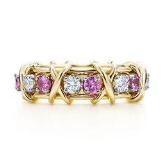 Anillo Jean Schlumberger Sixteen Stone en oro de 18k con zafiros y diamantes.
