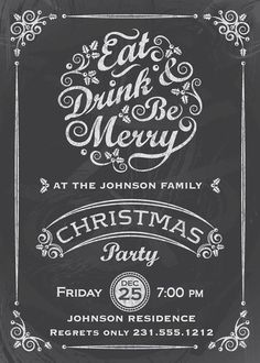 Personalized Christmas Party Invitations from Announce It! Invite your family and friends to your Holiday gathering. Christmas Fonts, Christmas Chalkboard, Family Christmas, Christmas Holidays, Merry Christmas, Christmas Party Invitations, Lettering, Words, Printable