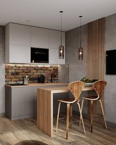 Kitchen Room Design, Kitchen Sets, Modern Kitchen Design, Home Decor Kitchen, Interior Design Kitchen, Kitchen Furniture, Home Kitchens, Interior Decorating, Decorating Ideas