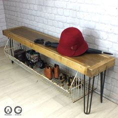 VINTAGE INDUSTRIAL HALLWAY SHOE STORAGE RACK/BENCH WITH HAIRPIN LEGS A superb vintage industrial storage bench designed and handmade to order by us