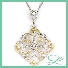 Diamond pendant - honey and white gold. Gorgeous must have !