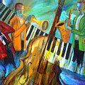 Jazz Quintet And Friends Painting by Larry Martin