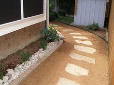 Flagstone Path and Rock edging by Baldi Gardens TX