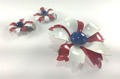 Demi Parure Enamel Flower Brooch Earring Set Mod by TheArtisanal
