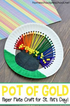 Preschoolers can work on fine motor skills as they create this pot o' gold paper plate craft for kids. It's the perfect addition to your St. St Patricks Day Crafts For Kids, St Patrick's Day Crafts, Holiday Crafts, Fun Crafts, Arts And Crafts, Paper Crafts, Spring Crafts, Paper Plate Crafts For Kids, Craft Projects For Kids