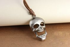 Vintage Skull Leather Pendant Necklace,free shipping,looback,$8.99