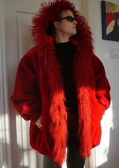 VINTAGE RED COAT Winter Womens Plus size by blingblingfling on Etsy