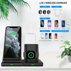 3 in 1 Qi Wireless Charger Charging Station Stand Dock For iPhone 11 Pro MaxXR 8