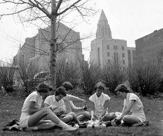 BU students having a picnic behind Marsh Chapel in 1950.