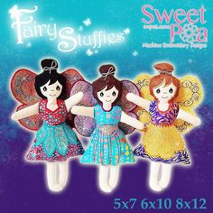 Stuffed fairies ITH in the hoop 5x7 6x10 8x12 machine embroidery desig | Sweet Pea
