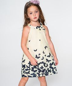 Loving this Butter Yellow & Navy Butterfly Yoke Dress - Toddler & Girls on #zulily! #zulilyfinds