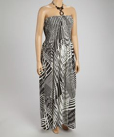 Look at this #zulilyfind! Black & White Geometric Halter Maxi Dress - Plus #zulilyfinds