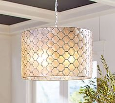 Capiz Drum Pendant #potterybarn Dining room Chandelier