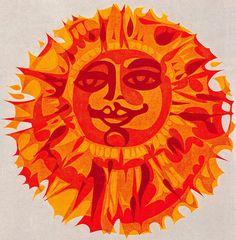 "Colour reduction print of Sun and Moon face in harmonious colour scheme image inspiration: ""The Sun"" by Eduard Prussen, 1967 Sun Moon Stars, Sun And Stars, Sun Illustration, Sun Worship, Good Day Sunshine, Sun Designs, Sun Art, Moon Design, My Favorite Color"