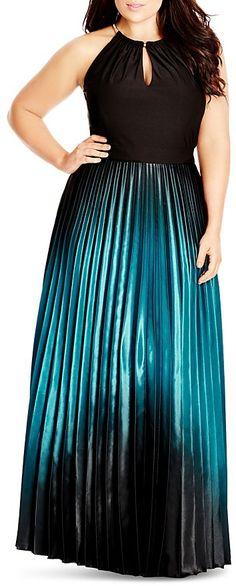 "City Chic Pleated Ombré Maxi Dress Plus Size Dress Women, schwarz, black, blue, blau, Plus Size Dresses #plussize #dresses #dress #kleider #kleid #fashion #mode #lifestyle #trendy - ""Grössere Grössen"". Atemberaubende Abendkleider. Amazing dresses for the evening, for cocktail partys..."