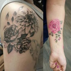 Pink rose scar cover-up tattoo by Jemka Flower Tattoo Sleeve Men, Flower Tattoo Back, Tattoo Sleeve Designs, Flower Tattoo Designs, Sleeve Tattoos, Rose Tattoos, Girl Tattoos, Scar Cover Up, Scar Tattoo