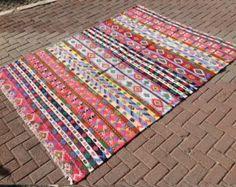large kilim rug 152 x 65 navy green and red Kilim by PocoVintage