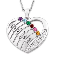 Mom heart necklace with up to 6 kids names and birthstones - Silver or gold.