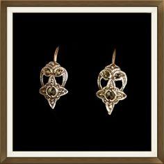 Art Deco Silver & 9ct Gold Hook Earrings