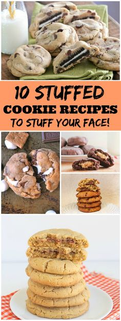 10 Stuffed Cookie Recipes:  Oreo Stuffed Chocolate Chip Cookies, Jelly Stuffed Peanut Butter Cookies, Nutella Stuffed Banana Cookies, Reeses Peanut Butter Cup Stuffed Cookies and more!