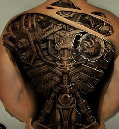 Three dimensional mechanical back tattoo, WoW, a lot of work has gone on this. Luv it.