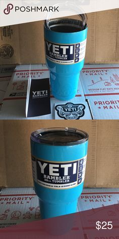 Yeti 30 Oz cup tumbler rambler brand new in box Yeti Cup  ✓ VACUUM INSULATED - The double walled vacuum insulated exterior will keep your drink the same temperature as long as science will allow.  ✓ SWEAT FREE - The exterior will never sweat. Perfect for use at the office.  ✓ DURABLE   [01] PRODUCT DETIALS: Sizes: 30 Oz Color:turquoise/ baby blue  Color maybe slightly darker or lighter than in picture due to light  YETI branded refrigerator 30oz rambler cups! Comes with: •1 30 Oz Yeti Cup…