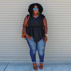 """Movie date  #linkinbio #outfitinspiration #plussizefashion #psfashion #whatiwore #casualootd #distressedjeans #asymmetricaltop #backpackpurse #lablogger…"""