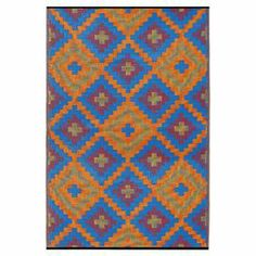 Anchor your patio seating group or define space in the den with this artfully woven indoor/outdoor rug, featuring a Southwestern-inspired diamond motif for eye-catching appeal.  Product: RugConstruction Material: Recycled plastic strawsColor: BlueFeatures:  Suitable for indoor and outdoor useSouthwestern-inspired diamond motifMoisture, UV and mildew resistant Made in India Reversible to same design Made following Fair Trade principles Includes eco-friendly jute bag for transport  Note: ...