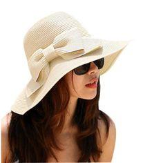 Black Friday Zcargel Women Fashion Korean Large Wide Brim Bow Beach Sun Straw Hat Cap (Beige) from Zcargel Cyber Monday