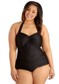 Bathing Beauty One-Piece Swimsuit in Black - Plus Size. It's ModCloth's ultimate swimsuit - now in a classic black hue! #black #modcloth