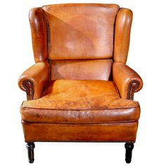 English Leather Wing Chair, Circa 1900