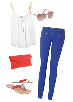 Royal Blue Skinny Jeans and White Top (Brown Hair)