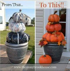 A fun family activity for the fall holidays, pumpkin is excellent for Halloween or Thanksgiving decoration...       http://www.thestonybrookhouse.com/2014/10/super-cheap-diy-outdoor-real-looking.html