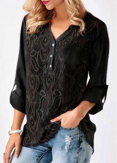 Black Roll Tab Sleeve Lace Panel Blouse.