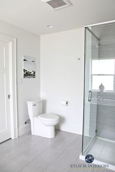 Benjamin Moore White Dove is a great off-white paint color for home staging and selling. Shown in small bathroom with Kingsport Gray vanity