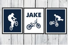 Bike Rider Print Set BMX 3 Piece Set Choose by TheEducatedOwl