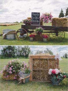 hay bales, chevron backdrop, watering cans, flowers, decor / http://www.deerpearlflowers.com/rustic-country-wagon-wheel-wedding-ideas/2/