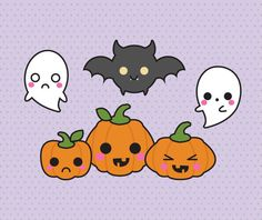 High quality vector clipart. Cute and spooky Halloween vector clip art. Trick or Treat clip art for Halloween! Kawaii Halloween! Kawaii clipart! This set features kawaii jack o lanterns or kawaii pumpkins, kawaii ghosts, kawaii sweets, kawaii bat, cat and spider, kawaii candy corn and more! Perfect for creating greeting cards,invitations, gift wrap and stationery, decorating your blog or website, designing posters and room decor. Can be used for digital or print. Great for gift cards and…