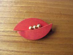 Aarikka Vintage Orange Red Geometric Wooden Brooch Retro  #Aarikka